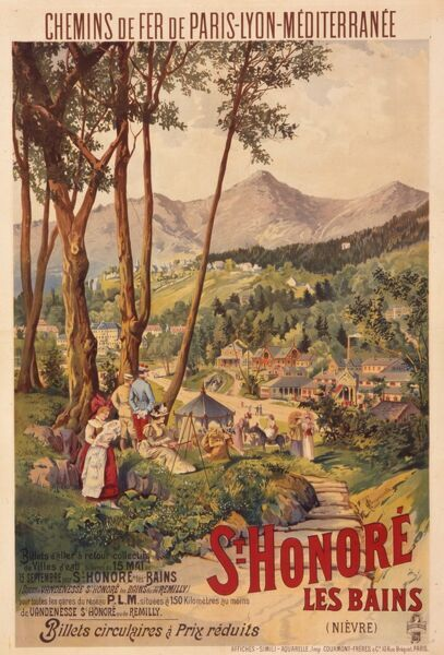 Poster advertising French railways to St Honore les Bains