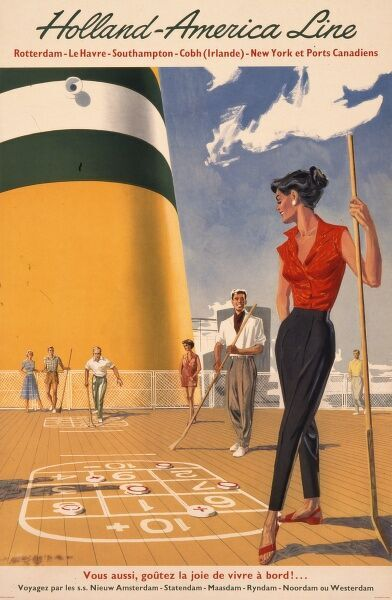 Poster advertising the Holland America Line from Rotterdam, calling at Le Havre, Southampton, Cobh in Ireland, New York and Canadian ports