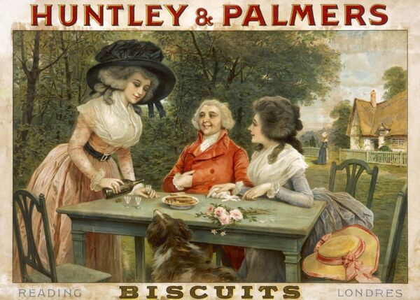 Poster advertising Huntley & Palmers biscuits, with an 18th century scene of three people and a dog enjoying sherry and biscuits in the open air