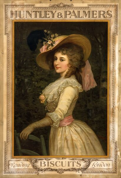 Poster advertising Huntley & Palmers biscuits, depicting an elegant 18th century lady in white muslin dress with matching pink hat and sash