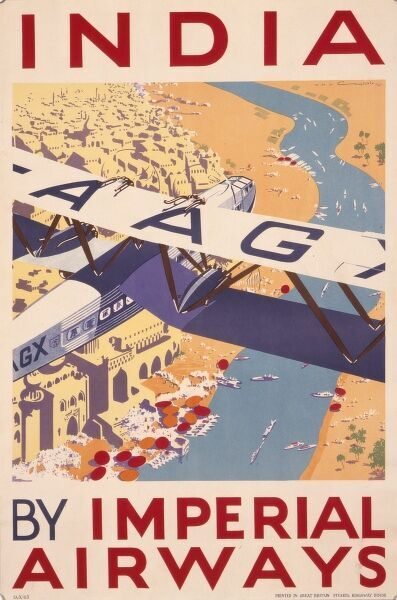 Poster advertising Imperial Airways flights to India, with an aerial view of a city and a river