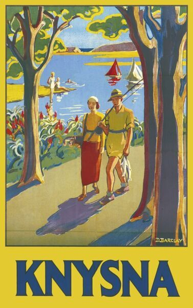 Poster advertising Knysna, a town in the Western Cape Province of South Africa. A relaxed couple stroll along with golf and fishing tackle