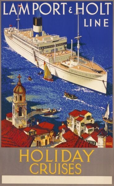 Poster advertising holiday cruises on the Lamport & Holt Line