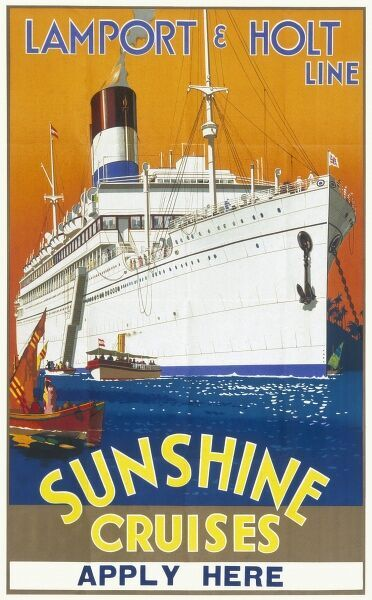 Poster for the Lamport & Holt Line, advertising sunshine cruises