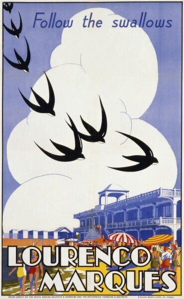 Poster advertising Lourenco Marques, now Maputo, the capital city of Mozambique. Follow the swallows