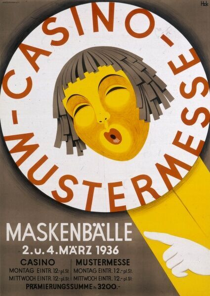 Poster advertising a masked ball during a national fair in Switzerland, from 2 to 4 March 1936