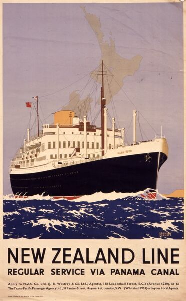 Poster advertising the New Zealand Line, offering a regular service via the Panama Canal