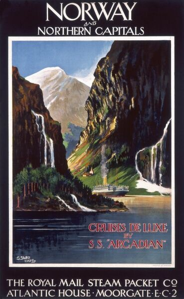 Poster for the Royal Mail Steam Packet Company, advertising trips to Norway and northern capitals. Luxury cruises on the SS Arcadian