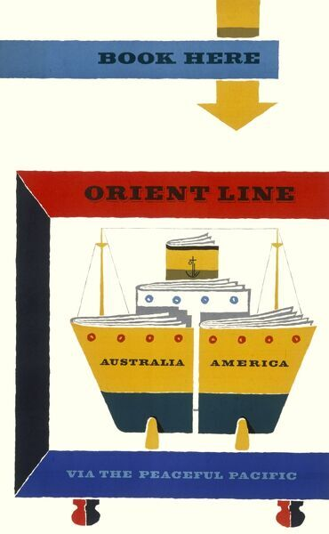 Poster advertising the Orient Line to Australia and America via the peaceful Pacific