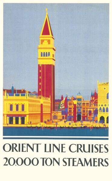 Poster advertising Orient Line cruises, with a colourful picture of Venice. 20,000 ton steamers