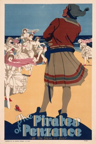 Poster advertising a production of The Pirates of Penzance, a comic operetta by Gilbert and Sullivan