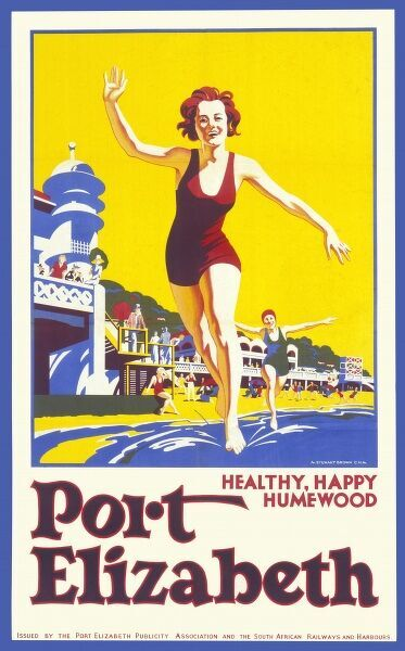 Poster advertising Port Elizabeth, a holiday resort on the coast of South Africa. Two young women in swimsuits dip their toes in the sea