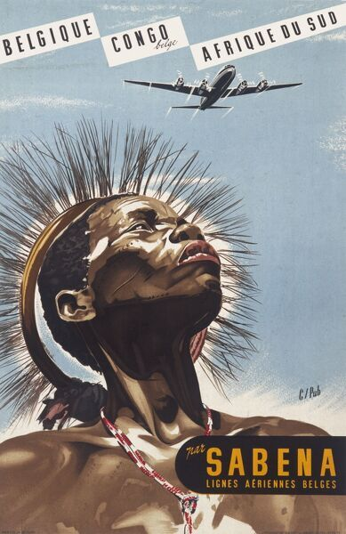 Poster advertising Sabena flights from Belgium to the Congo and South Africa. A native in traditional headdress looks up at a plane in the sky