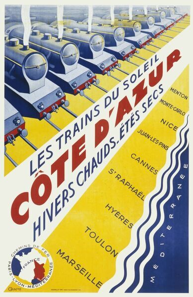 Poster for French railways, advertising services to the Cote d'Azur, with its warm winters and dry summers. Trains call at Menton, Monte Carlo, Nice, Juan les Pins, Cannes, St Raphael, Hyeres, Toulon and Marseille