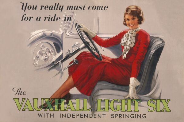 Poster advertising the Vauxhall Light Six car, with independent springing. An attractive young woman sitting at the wheel says you really must come for a ride