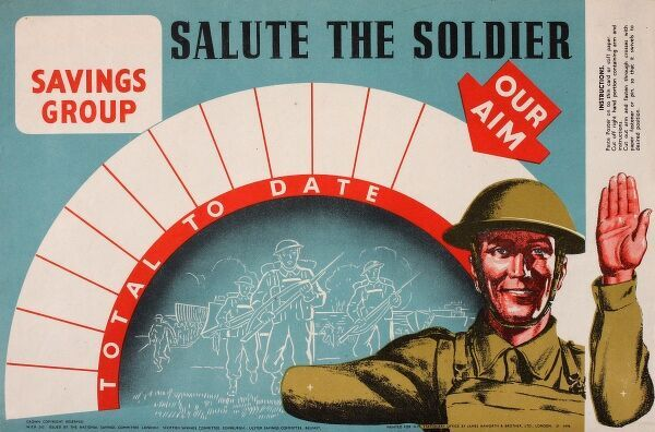 Poster advertising wartime savings -- Salute the Soldier -- to help support the war effort. The soldier is given a movable arm to indicate the total raised to date