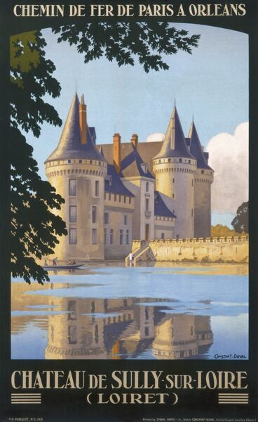 Poster advertising French railways, with trips to the Chateau de Sully sur Loire