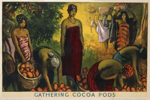 Poster for the Empire Marketing Board depicting the gathering of cocoa pods