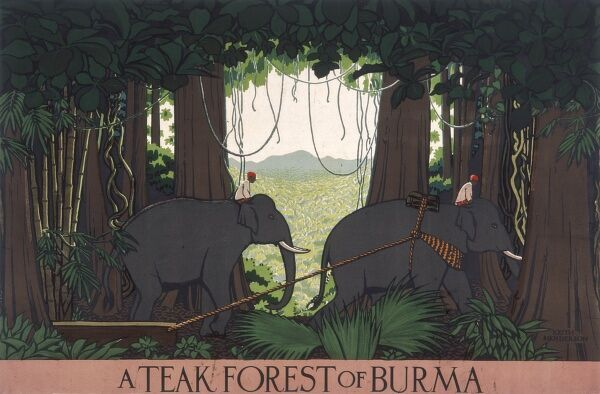 Poster, possibly for the Empire Marketing Board, depicting a teak forest in Burma, with elephants and their riders