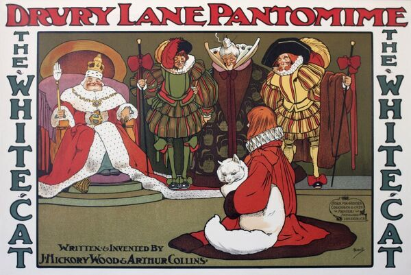 Poster, Drury Lane Pantomime, The White Cat, by J Hickory Wood and Arthur Collins