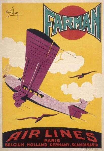 Poster advertising Farman airlines flights from Paris to Belgium, Holland, Germany and Scandinavia