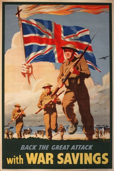 Poster, Back the Great Attack with War Savings, showing WW2 soldiers running across a beach