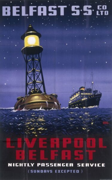 Poster for the Liverpool to Belfast passenger service -- a nightly service, excepting Sundays of course