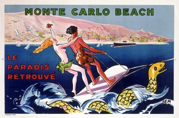 Poster for Monte-Carlo Beach, Monaco, printed by Draeger. 'Paradise Found&#39
