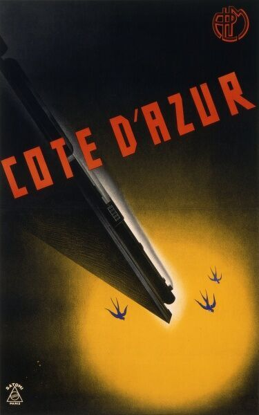 Poster by the PLM for railway trips to the Cote d'Azur, south of France