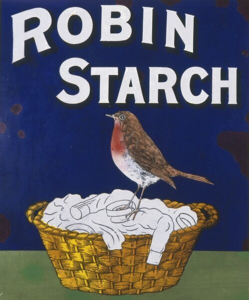 Poster for Robin Starch, showing a robin redbreast sitting on a basketful of white washing