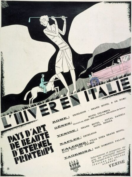 Poster advertising Winter in Italy - The Land of Art, Beauty and 'Eternal Spring'. The Grand Hotels of Rome, Venice, Genoa, Palermo, Naples and Taomina are listed