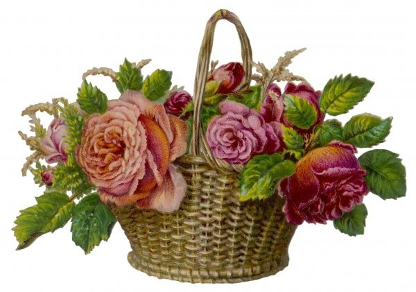 A decorative arrangement of roses in wicker basket