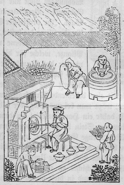 Pottery production in ancient China - firing the pots in a kiln (4 of 4)