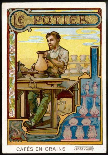 Le potier - POTTER - shaping a pot on his wheel
