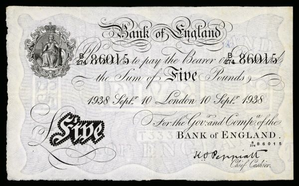 Five pound note issued by the Bank of England