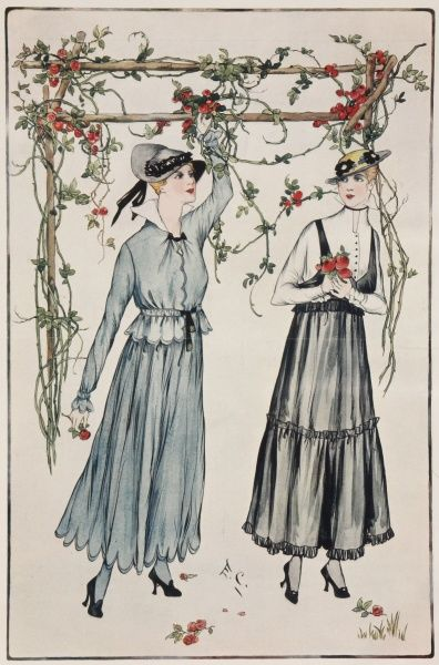 Parisian fashions for the month of June, worn by two women standing under a pergola festooned with climbing roses