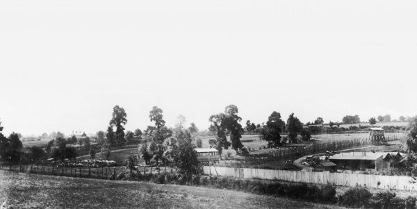 Prisoner of War Camp at Eastcote, Middlesex, England, showing sentry posts and barbed wire fence during World War I