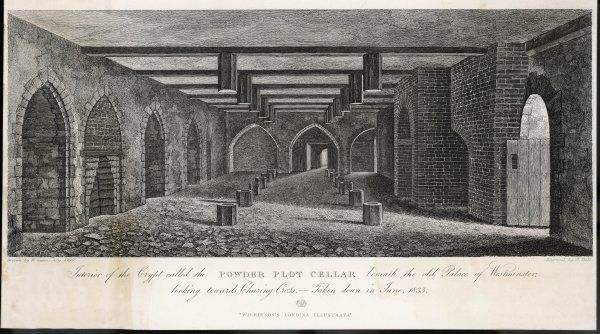 Interior of the Crypt or Powder Plot Cellar beneath the old Palace of Westminster looking towards Charing Cross. It was taken down in June 1833