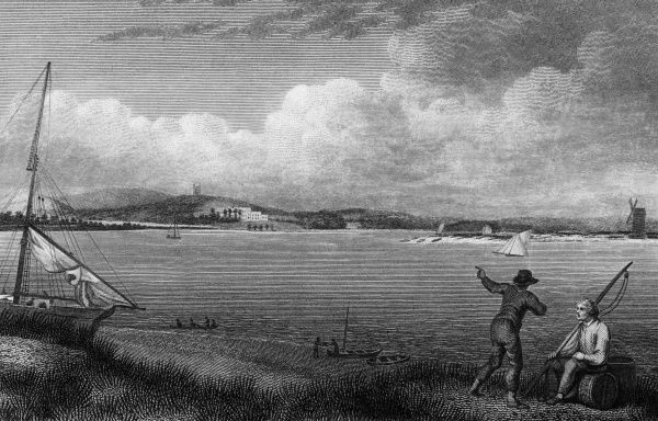 Distant from of Powderham Castle, Devonshire, from the sea Date: 1802