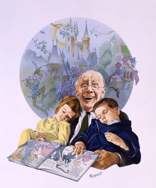 A Grandfather laughs to himself as he reads aloud to his two grandchildren, both of whom have fallen asleep in his arms. The imagined fantasy world of the story unfolds behind him. Painting by Malcolm Greensmith