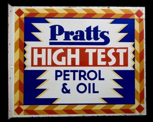 An enamel sign advertising Pratts High Test Petrol & Oil. *EDITORIAL USE ONLY*