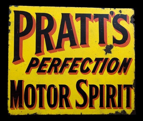 An enamel sign advertising Pratts Perfection Motor Spirit. *EDITORIAL USE ONLY*