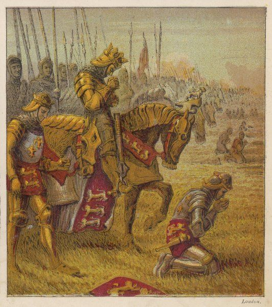 Henry V and his troops pray for victory over the French before the battle of Agincourt
