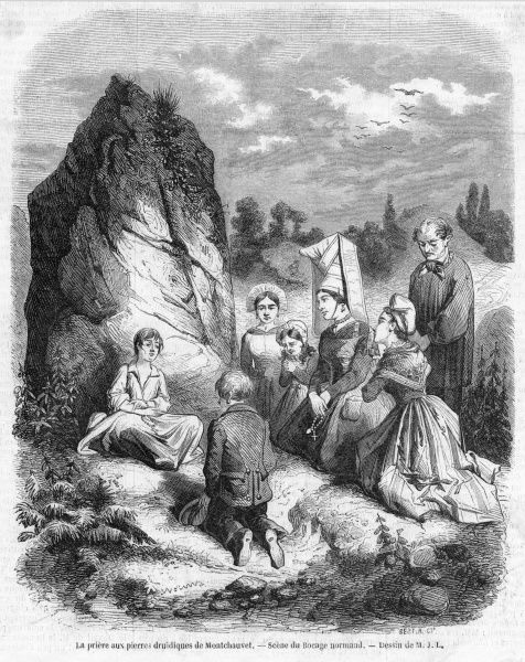 Though priests deplore such superstitions, many peasants retain allegiance to old gods - women pray before the druidic stones at Montchauvet in the bocage of Normandie