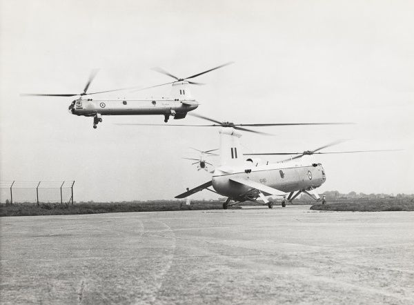 Three pre-production Belvederes flying at RAF Odiham Date: 1958