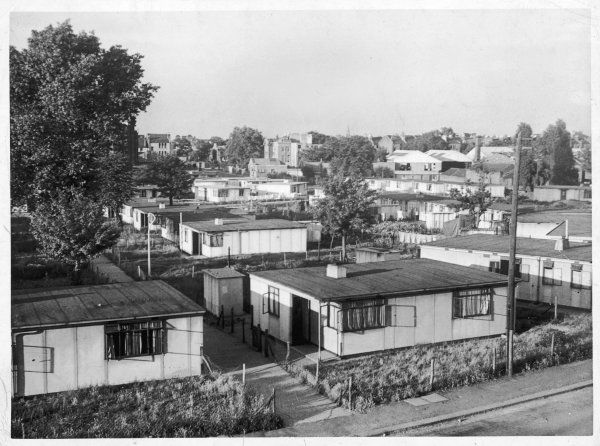Rows of 'prefab' houses in Clapham, south west London, part of Britain's post-war building boom