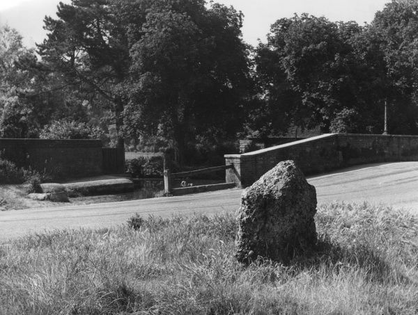 A Prehistoric 'Markstone', near the bridge and ford on the River Ver at St. Albans, Hertfordshire, England. Date: BC