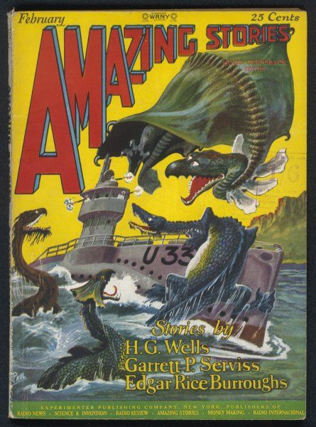 'THE LAND THAT TIME FORGOT' (Edgar Rice Burroughs) The travellers' submarine is attacked by prehistoric monsters