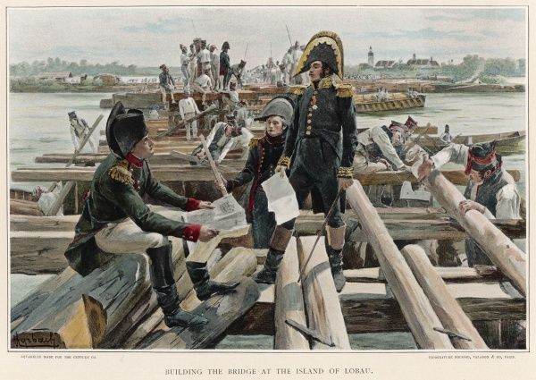 Napoleon prepares to cross the Danube by building a series of bridges for his army