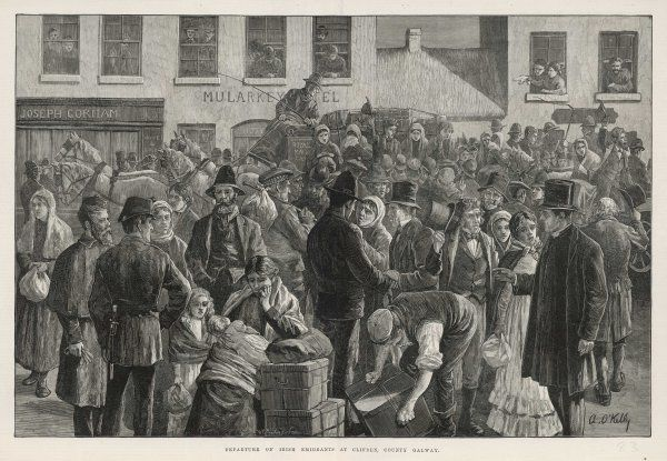 Irish emigrants preparing to sail to America from Clifden, County Galway Date: 1883